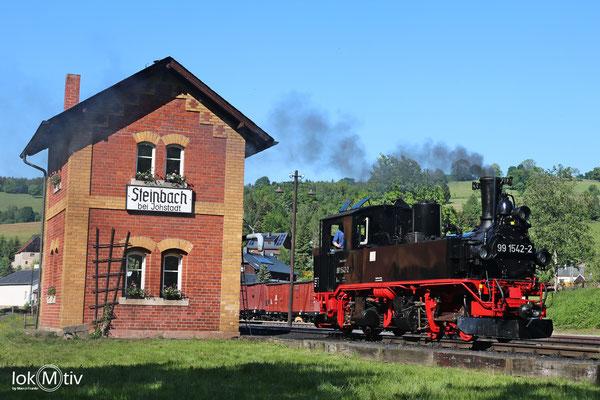 99 1542-2 Steinbach Bhf nach dem Wasser nehmen am Wasserhaus