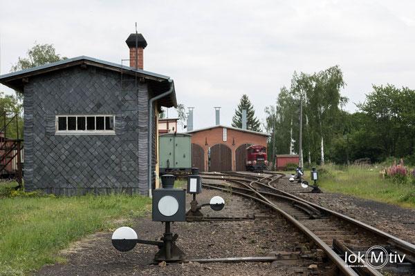Lokschuppen im Bahnhof Mügeln, einst größter Shmalspurbahnbahnhof Europas.