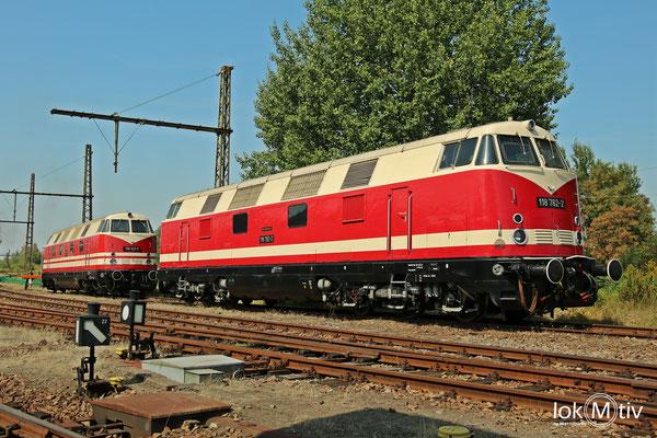118 872-2 und 118 141-1 im Static Display des Sächsischen Eisenbahnmuseums Chemnitz (08/2018)