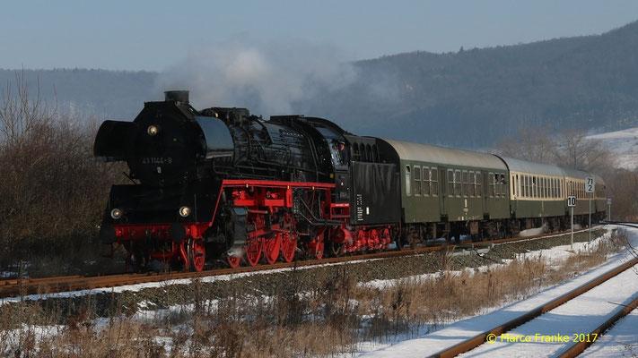 41 1144-9 in Grimmenthal auf dem Weg nach Meiningen 01/2017