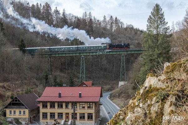 Rückfahrt nach Blankenburg auf dem Kreuztalviadukt