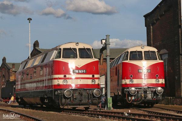 118 872-2 und 118 141-1 im Static Display des Sächsischen Eisenbahnmuseums Chemnitz (08/2017)