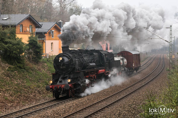 58 311 bei der Abreise nach Gera ebenfalls auf der Tharandter Rampe.