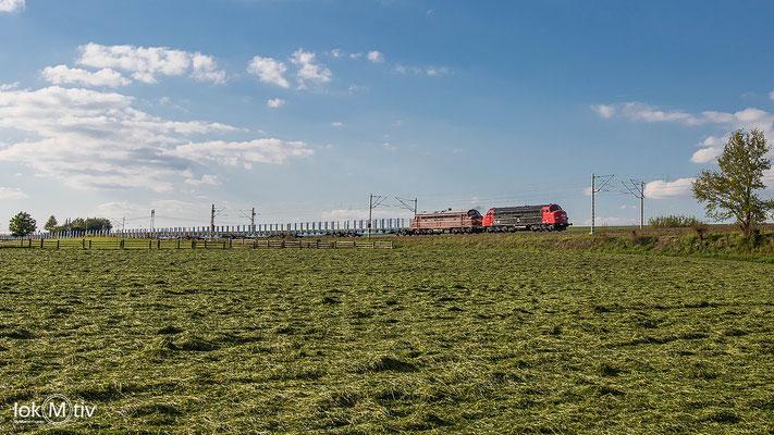 MY 1138 und 1142 der CLR bringen den Leerholzzug zurück nach Freiberg , Aufnahme kurz vor Sankt Egidien(05/2020)