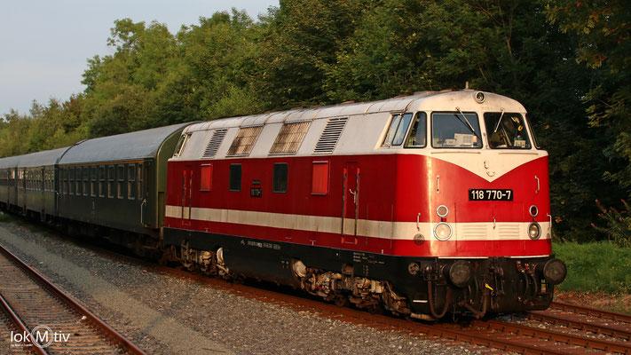 118 770-7 in Marienberg als Schublok für 01 0509-8 für einen Dienst nach Kulmbach (08/2017)