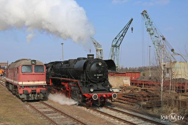 44.1486-8 und 120.366-0 im Eisenbahnmuseum Staßfurt 03/2018