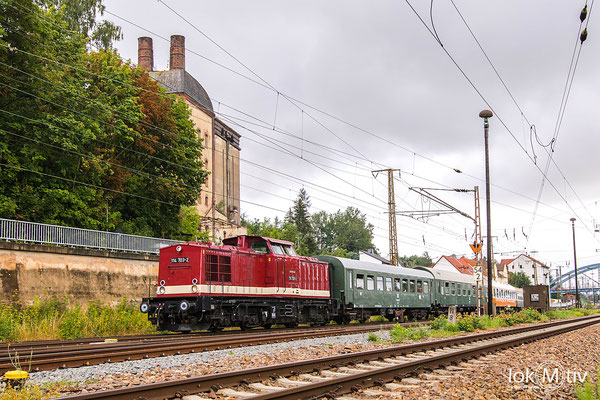 Auf dem Weg nach Schlettau passiert die Malzfabrik in Gößnitz