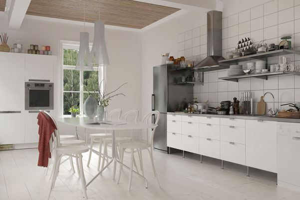 Helle lichtdurchflutete Küche im skandinavischen Wohnstil. Foto: © XtravaganT/fotolia.com