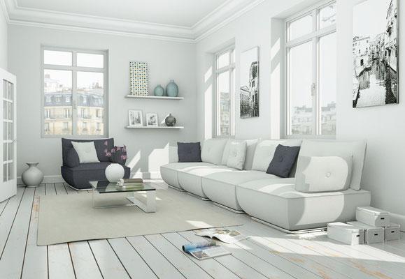 Skandinavischer Wohnstil im Wohnzimmer.  Foto: © virtua73/fotolia.com