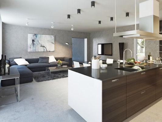 Klasisch moderner Wohnstil mit integrierter Küche. Foto: © ostap25/fotolia.com