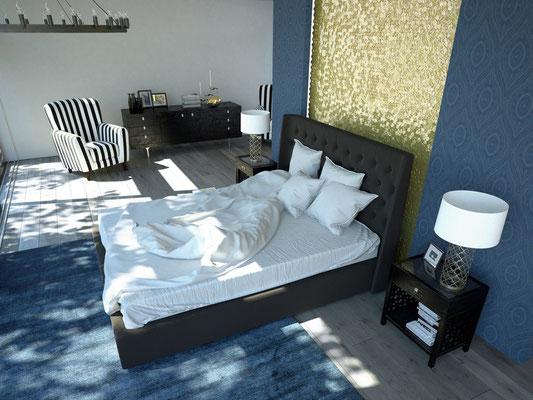 Klassisch moderner Wohnstil im Schlafzimmer. Foto: © 2mmedia/fotolia.com