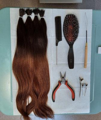 Nanoring Extensions mit Ombré Effekt Ayana hair & more Binningen