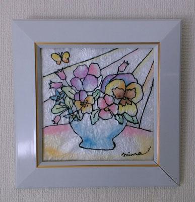 パステルステンドグラスアート/パンジーの花アレンジ
