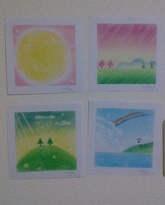 S,Sさんの作品~円、土手の桜、希望の丘、虹と灯台~