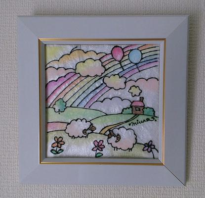 パステルステンドグラスアート/虹と羊のいる丘