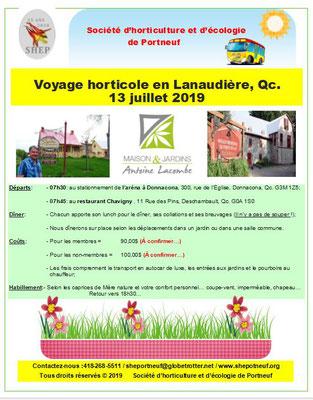 Affiche promotionnelle 2019 du ''Voyage horticole 2019'' de la SHEP.