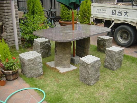 石のテーブルとベンチ