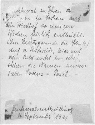 Rückseite der Postkarte vom Kriegerdenkmal