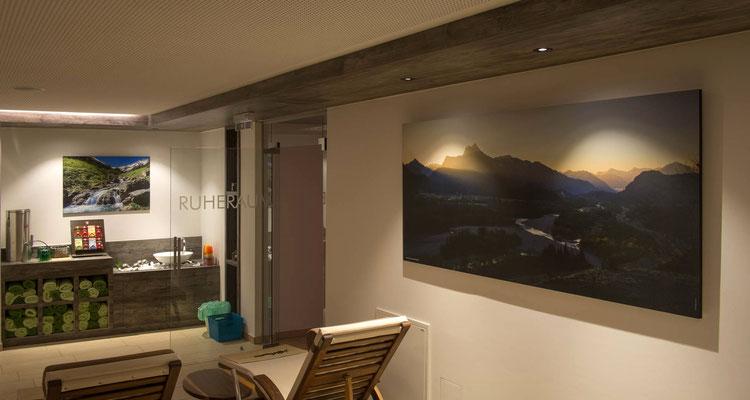 Wellnessbereich, Hotel Mohren, Reutte, Wandbilder 70 x 100 cm und 90 x 200 cm