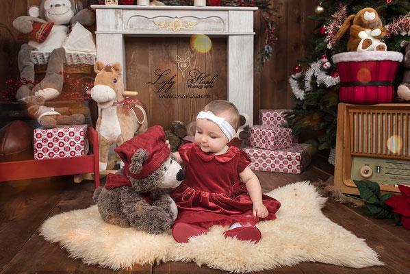 photographe noël bébé magie décor Brignoles