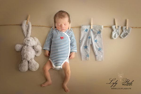 photographe original faire part naissance bébé Monaco corde à linge