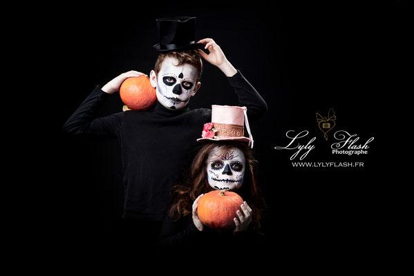 photographe  photo enfant halloween grimage pour halloween maquillage en studio photo