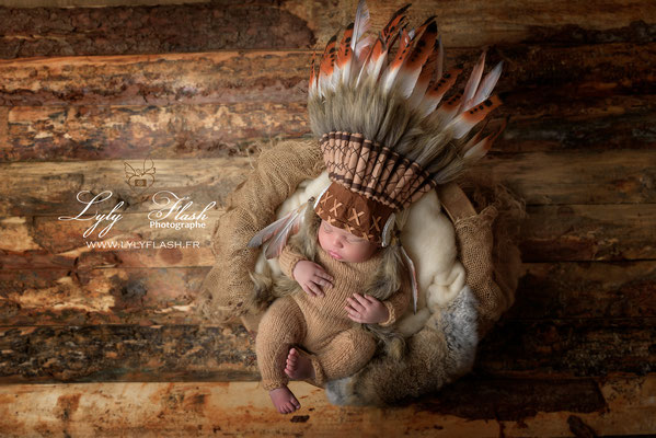 petit indien pour une séance photo nouveau-né près de saint zacharie