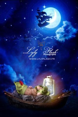 Photographe naissance bébé  inspiration peter pan