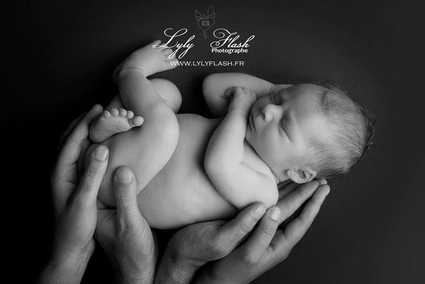 photographie noir et blanc bébé dans les mains des parents photographe près de ginaservis