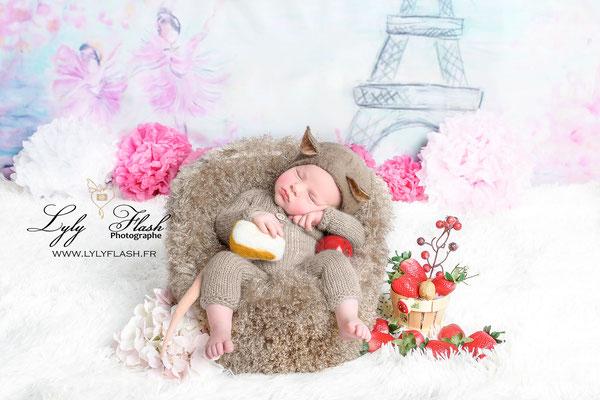 photo original de bébé a la naissance en version ratatouille la petite souris a Paris Issue d'une naissance art en studio par lyly flash