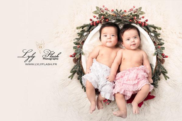 photographe bébé jumelle studio asiatique pour princesse jumelle a garéoult