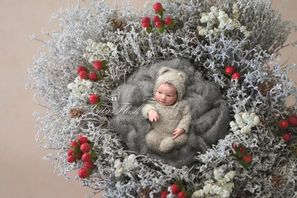 photographe d'art bébé noël