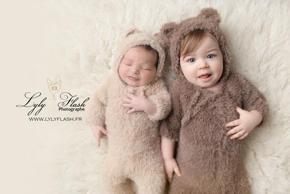 photo naissance en famille grande soeur mignon ourson monaco