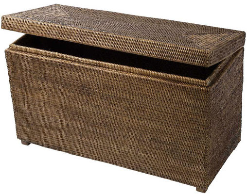 0285 Rattan Hinged Chest 74x32x42