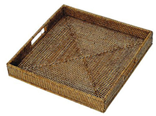 0036 Rattan  Medium Square Tray 38x38x6, 0460 Large Square Tray 38x38x6