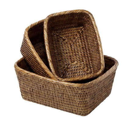 0289 Rattan  Small 22x16x9, 0244 Medium 25x20x10, 0194 Large 28x23x11 Suncream Baskets
