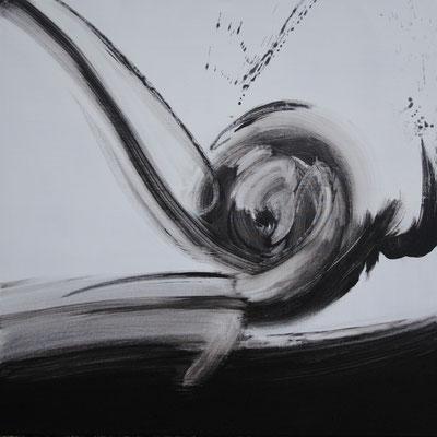 Ohne Titel Nr. 252, 80x80 cm, Acryl mit Tapetenkleister aus Leinwand