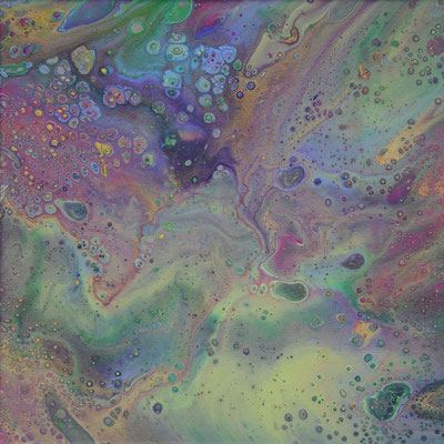 Ohne Titel Nr. 014, 30x30 cm, Acryl Fließtechnik auf Leinwand