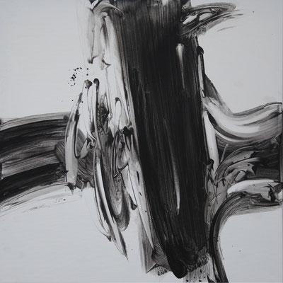 Ohne Titel Nr. 252.1, 80x80 cm, Acryl mit Tapetenkleister auf Leinwand