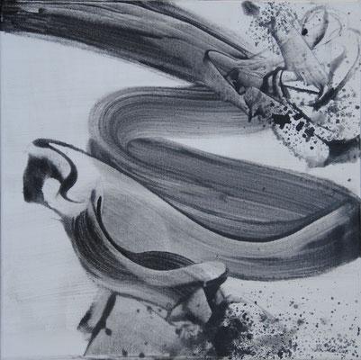 Ohne Titel Nr. 261, 40x40 cm, Acryl mit Tapetenkleister auf Leinwand