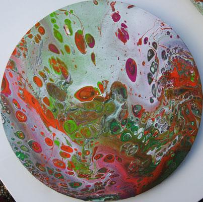 Ohne Titel Nr. 037, 50x50 cm, Acryl Fließtechnik auf Leinwand