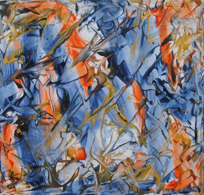 Ohne Titel Nr. 246, 80x80 cm, Acryl mit Tapetenkleister auf Leinwand