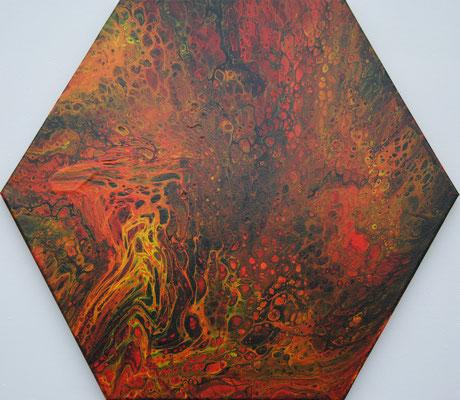 Ohne Titel Nr. 027.1, 43x50 cm, Acryl Fließtechnik auf Leinwand