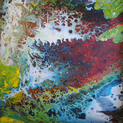 Ohne Titel Nr. 045.1, 80x80 cm, Acryl Fließtechnik auf Leinwand