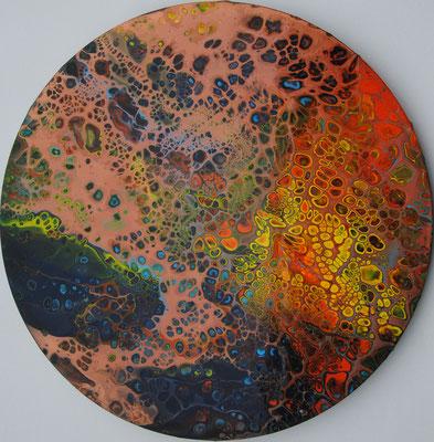 Ohne Titel Nr. 034.1, 50x50 cm, Acryl Fließtechnik auf Leinwand