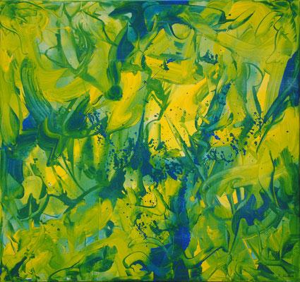 Ohne Titel Nr. 245.1, 80x80 cm, Acryl mit Tapetenkleister auf Leinwand