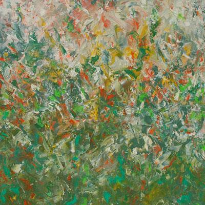 Ohne Titel Nr. 220.1, 100x100 cm, Acryl mit Spachteltechnik auf Leinwand