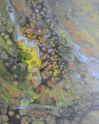 Ohne Titel Nr. 042, 50x70 cm, Acryl Fließtechnik auf Leinwand