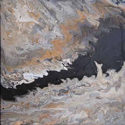 Ohne Titel Nr. 013.1, 50x50 cm, Acryl Fließtechnik auf Leinwand