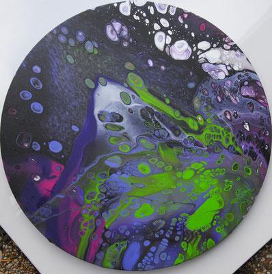 Ohne Titel Nr. 035.1, 50x50 cm, Acryl Fließtechnik auf Leinwand